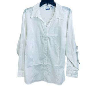 RIDERS BY LEE SIZE 3X WHITE BUTTON DOWN SLEEVES 3/